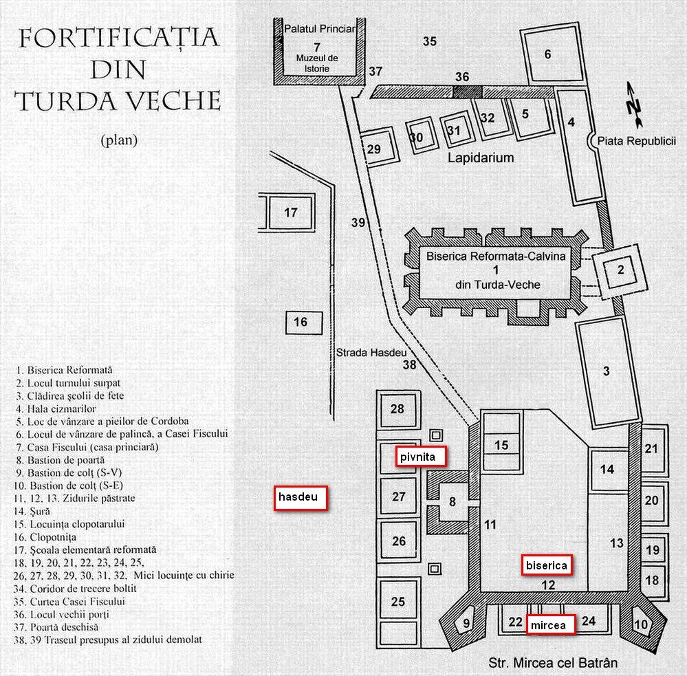 plan fortificatia medievala Turda Veche